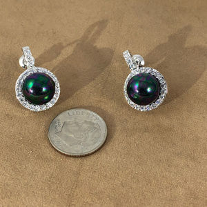 Gem Empourium Jewelry - 14K White Gold Plated Black Pearl & Crystals Studs